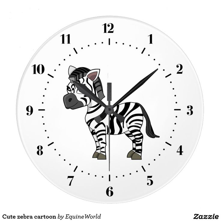 Cute zebra cartoon clock
