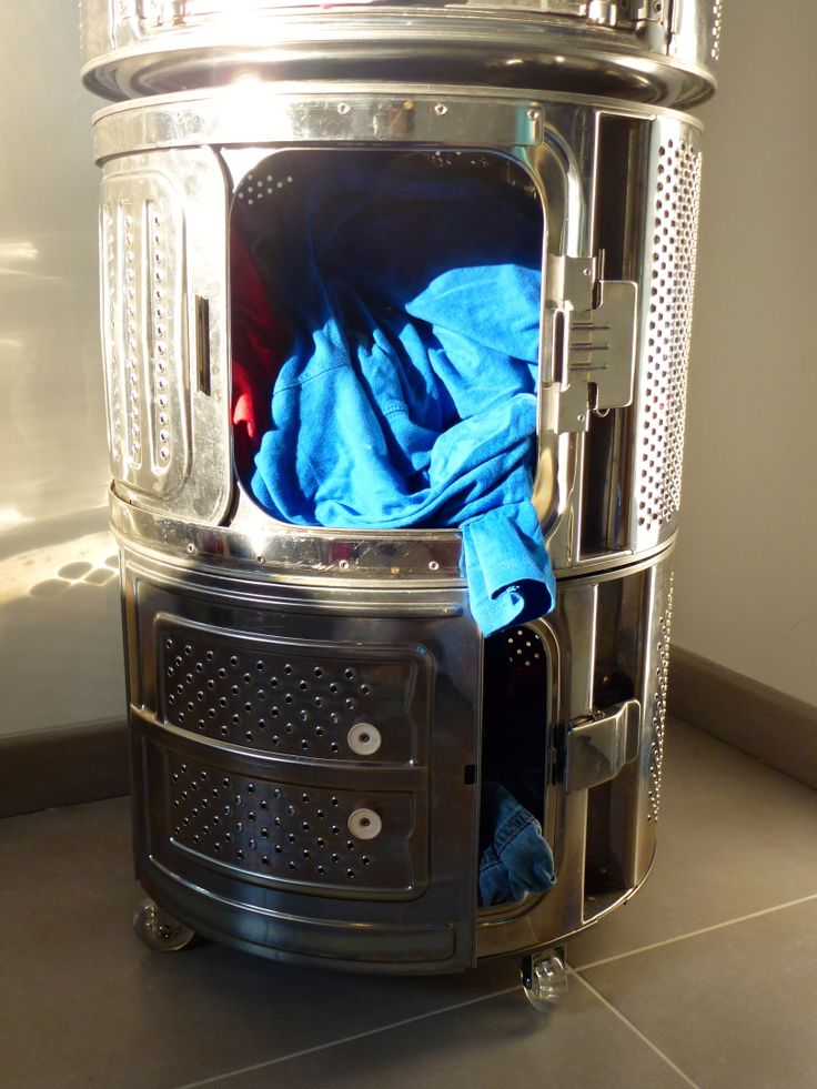 r alisation d 39 un panier linge en utilisant 4 tambours de machines laver pour pouvoir plus. Black Bedroom Furniture Sets. Home Design Ideas