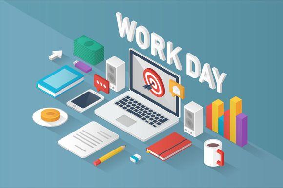 "Isometric ""Work Day"" by moryachok on Creative Market"