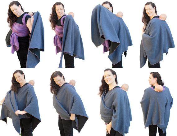 Fleece Poncho Maternity Coat Babywearing Jacket Wrap by BabyEtte