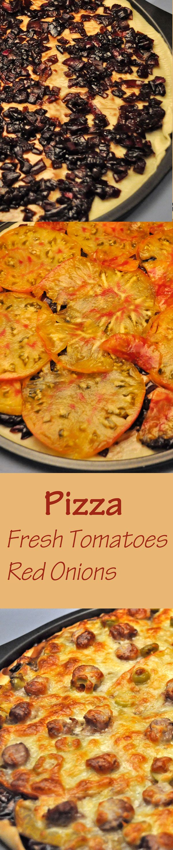 Caramelized Red Onions and thinly sliced Fresh Tomatoes make this easy, gourmet pizza special #pizza #freshtomatopizza #caramelizedredonion