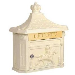 """VICTORIAN MAILBOX  VICTORIAN MAILBOX-SURFACE MOUNTED-BEIGE.  Made of cast aluminum, surface mounted Victorian mailboxes are available in four (4) contemporary colors and include a 10-3/4"""" W x 2-1/4"""" H mail flap with the word """"LETTERS"""" engraved in it.  Surface mounted Victorian mailboxes include a front access 10-3/4"""" W x 6"""" H door and a lock with (2) keys. Surface mounted Victorian mailboxes may be used for U.S.P.S. residential door mail delivery. Dimensions 15.75""""W x 20""""H x 5.75""""D"""