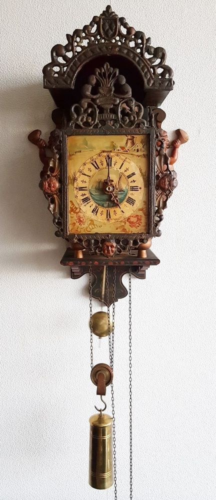 Ends soon on eBay This Warmink Stoelklok Wall Clock 30 Hour Single Bell  Strike Chain Driven