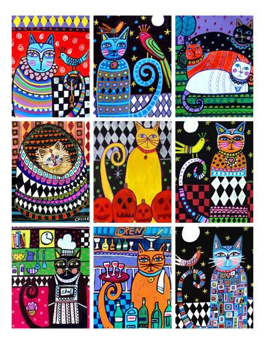 Cat ACEO card print set - Cat Folk Art by Heather Galler