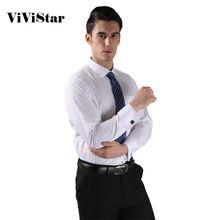 Botón de puño francés Dress hombres camisas nuevo no hierro de lujo Slim Fit de manga larga de negocios de marca Formal camisas de moda