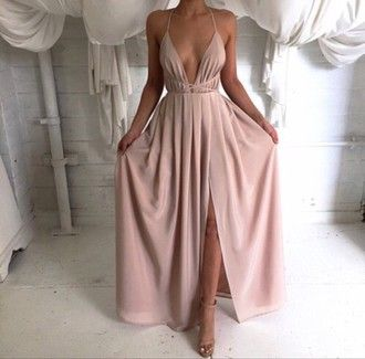dress nude tan prom dress prom gown flowy dress pale pink dress gown peach v…