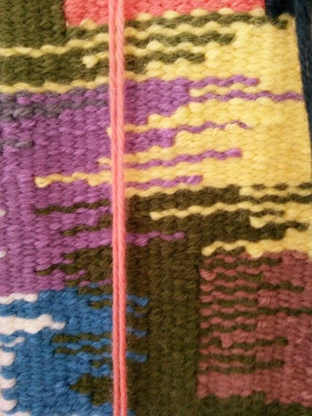 Wool weft, cotton warp, section taster of small weaving.