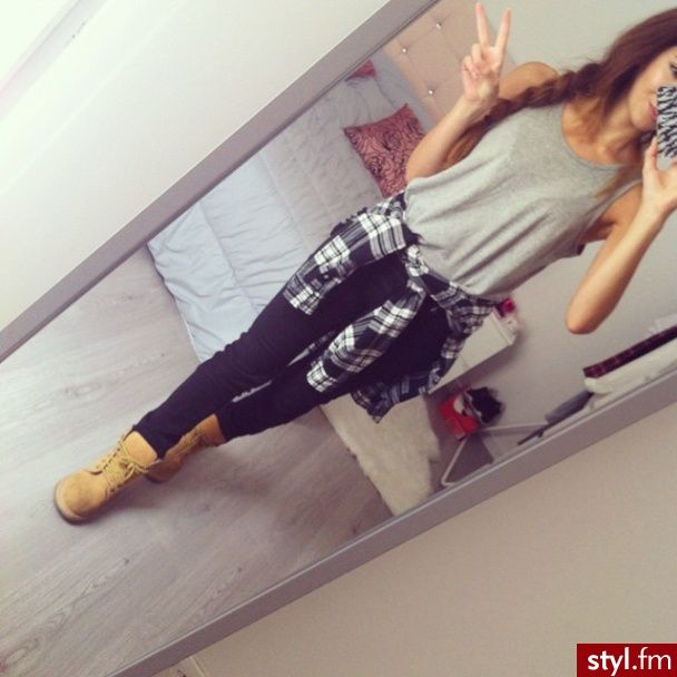 Black Pants with Grey Loose Muscle T and Red Plaid Button Down with Sneakers or Tims