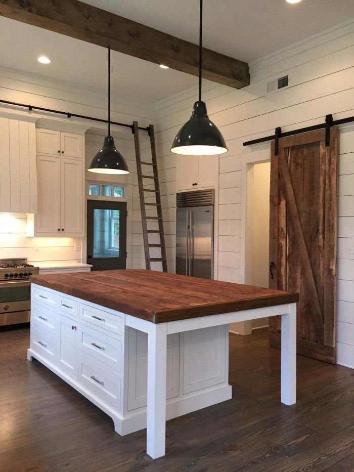Kitchen Island, lights, barn door, ship lap, beams