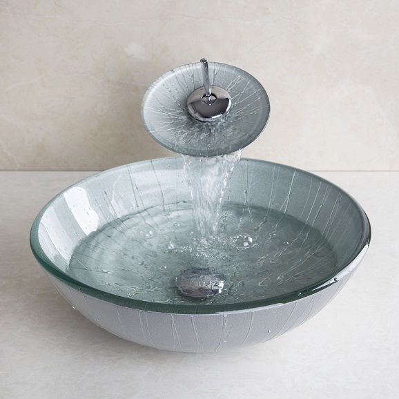 Photo Gallery On Website UK Stock Bathroom Tempered Glass Vessel Sink Basin Painting Vanity Bowl Tap
