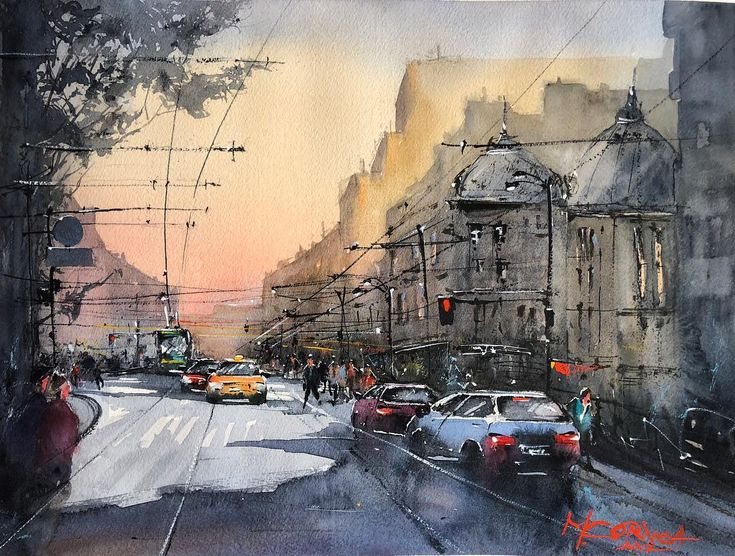 A remake of my latest work. In this one I tried to simplified everything by deleting some of the details and make it more loosely. . . . #watercolor #watercolorpainting #artoftheday #streets# art #instaart #acuarela #painting #cityscape #streets #bucharest #createexploretakeover #street_perfection #sunset #urbanpainting #sunrise_sunsets_aroundworld #instagood #instawatercolor