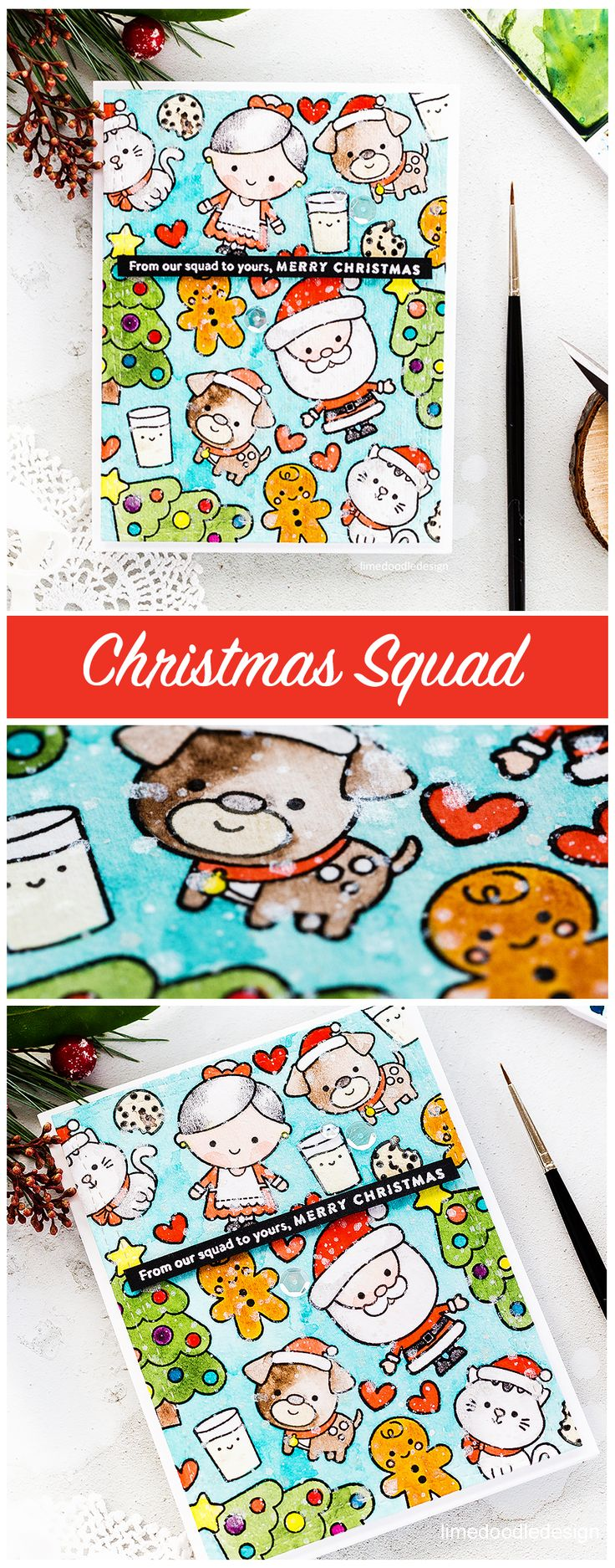 Video - watercoloured cute Christmas card by Debby Hughes using the stamp set from the Simon Says Stamp December Card Kit. Find out more: http://limedoodledesign.com/2017/11/video-christmas-squad-sss-december-2017-card-kit/