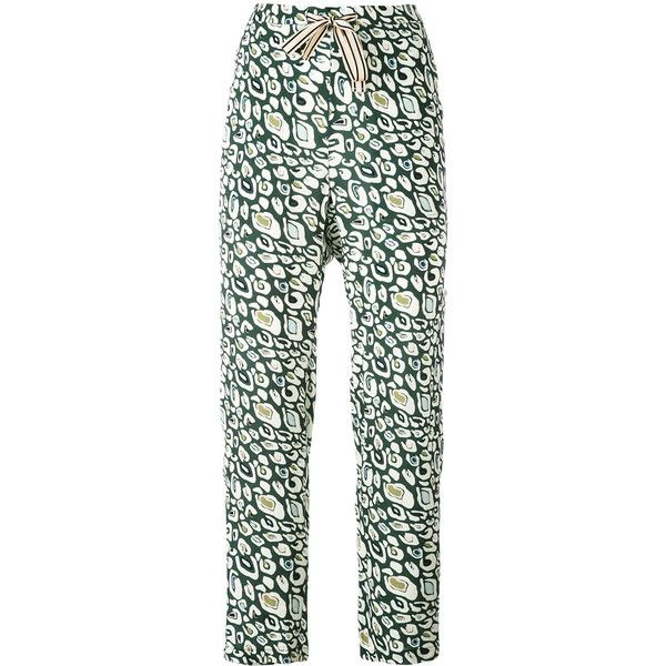 Bellerose Vael tapered trousers ($185) ❤ liked on Polyvore featuring pants, green, tapered pants, tapered trousers, green trousers, taper cut pants and green pants