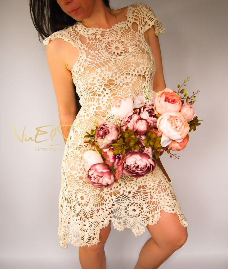 CROCHET Wedding Dress.Crochet dress.Crochet lace dress.Bohemian wedding dress.Beach wedding dress.Boho crochet dress.Wingsleeve dress by NinElDesign on Etsy
