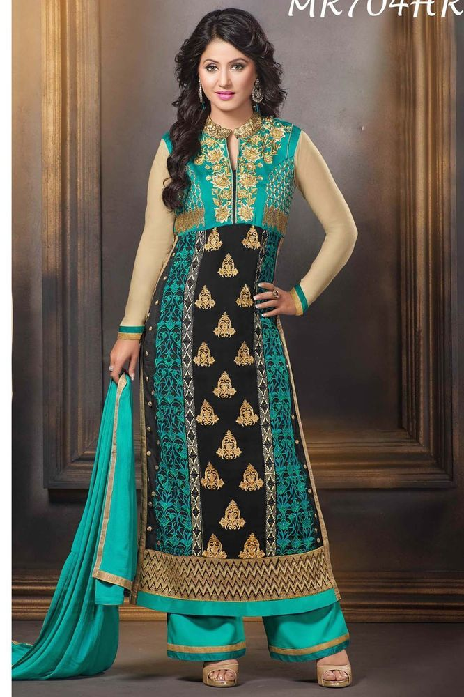 Indian Black Georgette Hina Khan Palazzo Suit semi-stitched fancy suit 704 #AartISaree #StraightSuit