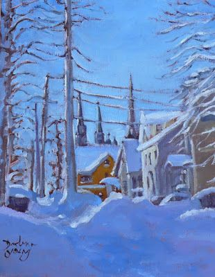 Darlene Young a Painting a Day: 1009 The Yellow House Down The Lane, 8x10, oil on ...