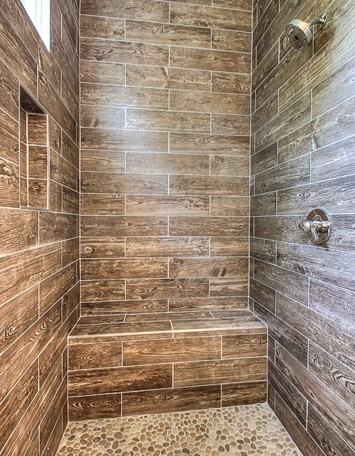 Even the wettest areas can benefit from the soothing energy of wood thanks  to faux wood - Best 25+ Rustic Shower Ideas Only On Pinterest Cabin Bathrooms