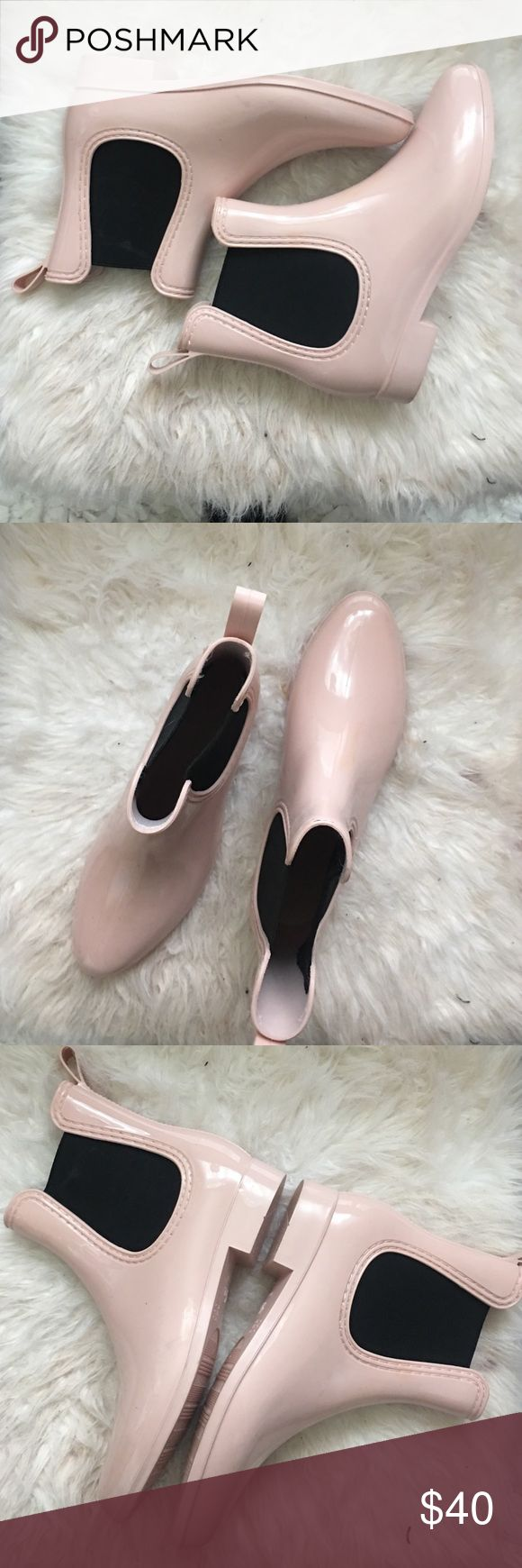Size 9 1/2 - 10 pink rain boots worn once (narrow Pink ankle rain boots with a gloss finish size 9/12-10 runs narrow with a heel wore them once couldn't fit them Asos Shoes Winter & Rain Boots