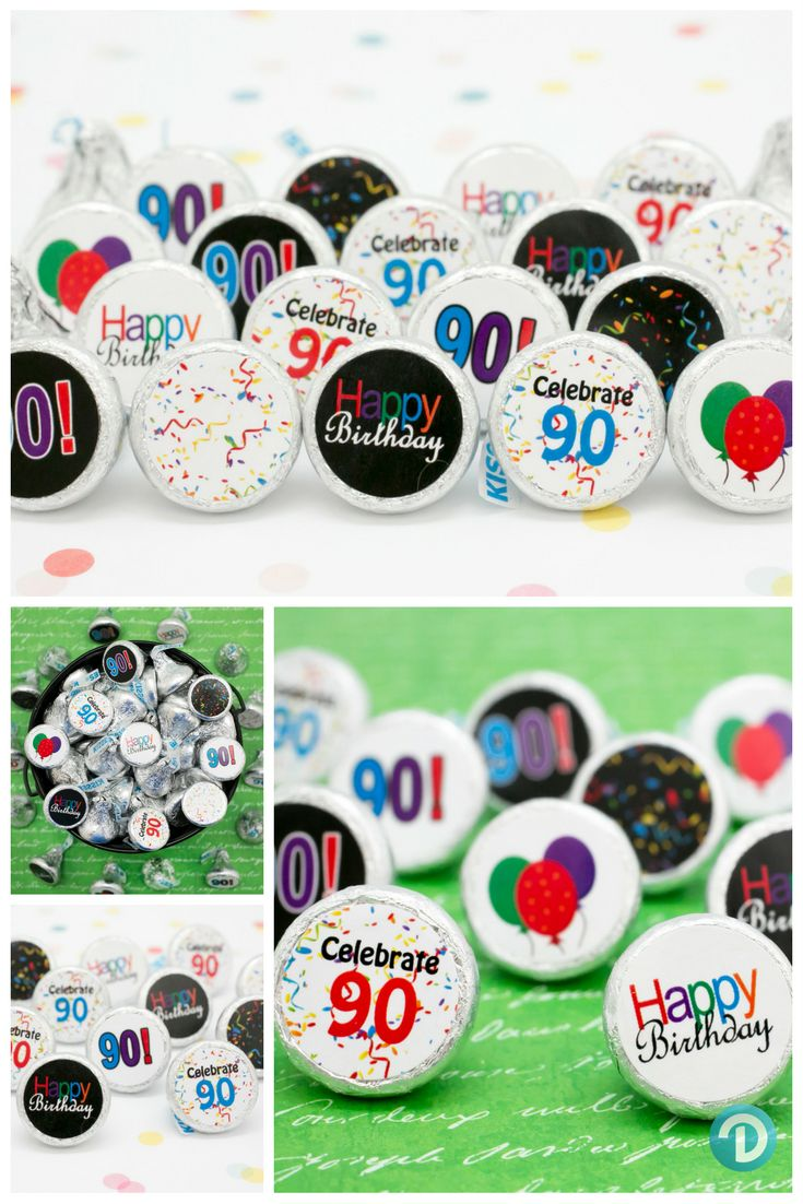 Having a 90th Birthday Party Celebration?  Looking for a unique and yummy party favor or table decoration everyone will love?  Make your own DIY Hershey Kisses with our Happy 90th Birthday Stickers.