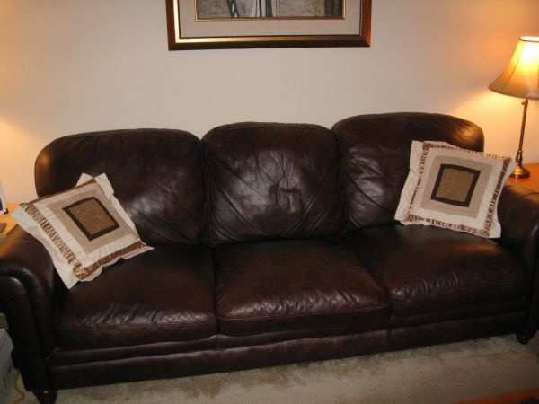 Leather couch, brown