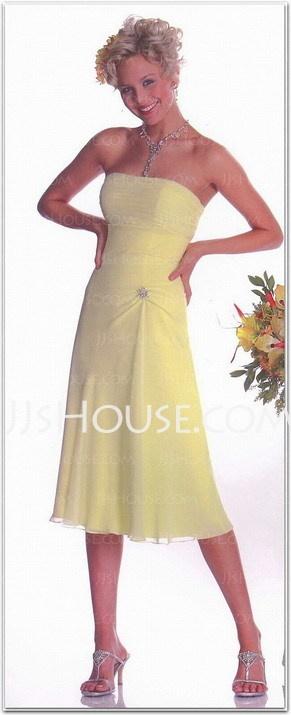 Bridesmaid Dresses - $90.99 - A-Line/Princess Strapless Tea-Length Chiffon Bridesmaid Dresses With Ruffle (007001148) http://jjshouse.com/A-line-Princess-Strapless-Tea-length-Chiffon-Bridesmaid-Dresses-With-Ruffle-007001148-g1148