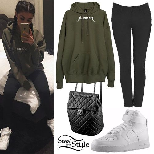 Madison Beer posted an instagram photo a few days ago wearing the BlackDope Hoodie Khaki Metal (€50.00), pants similar to the Forever 21 Clean Skinny Jeans ($14.00), all-white Nike Men's Air Force 1 High Sneakers ($99.99) – Boys' ($89.99), and the Chanel 2016 Black Lambskin Backpack ($3,400.00, wrong color) lying on the bed behind her.