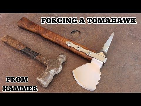 Forging A Tomahawk From Hammer - YouTube | Bushcraft +