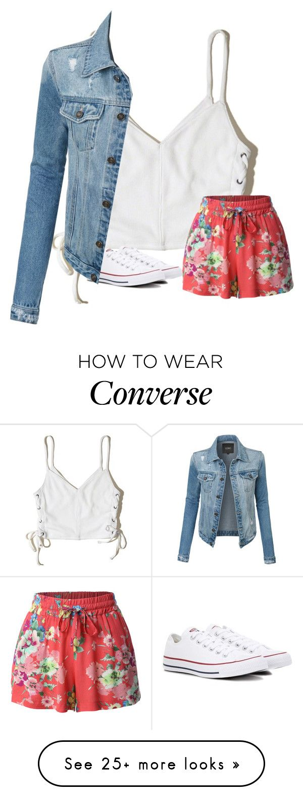 """Untitled #3294"" by laurenatria11 on Polyvore featuring Hollister Co., LE3NO and Converse"