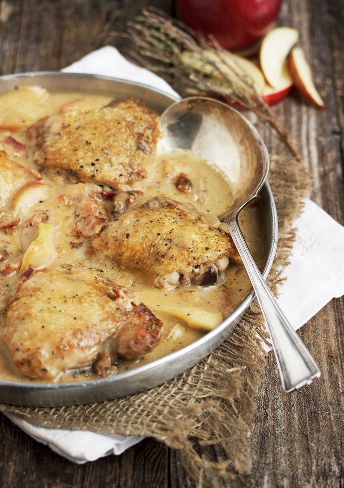 Chicken with Apples and Bacon - an easy, one-pot meal that is deliciously different. | Seasons and Suppers