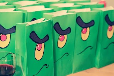 DIY Plankton gift bags for a Spongebob birthday party - this could be fun for take home stuff from the party