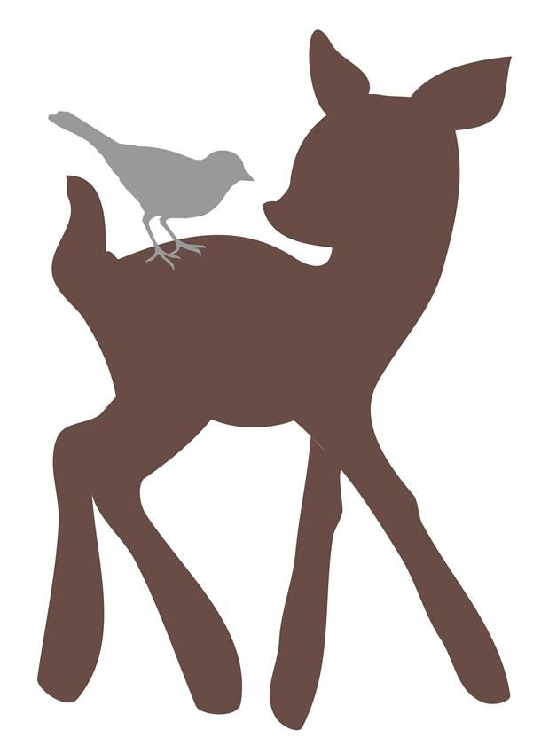 Woodland Tumble Deer And Bird Wall Decal Baby Boy Kids