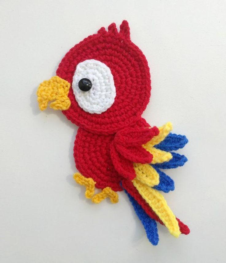 PATTERN Tropical Birds Applique Crochet Patterns PDF Toucan Cockatoo Parrot Red Cardinal Crochet Appliques Paradise Birds Baby Blanket ENG