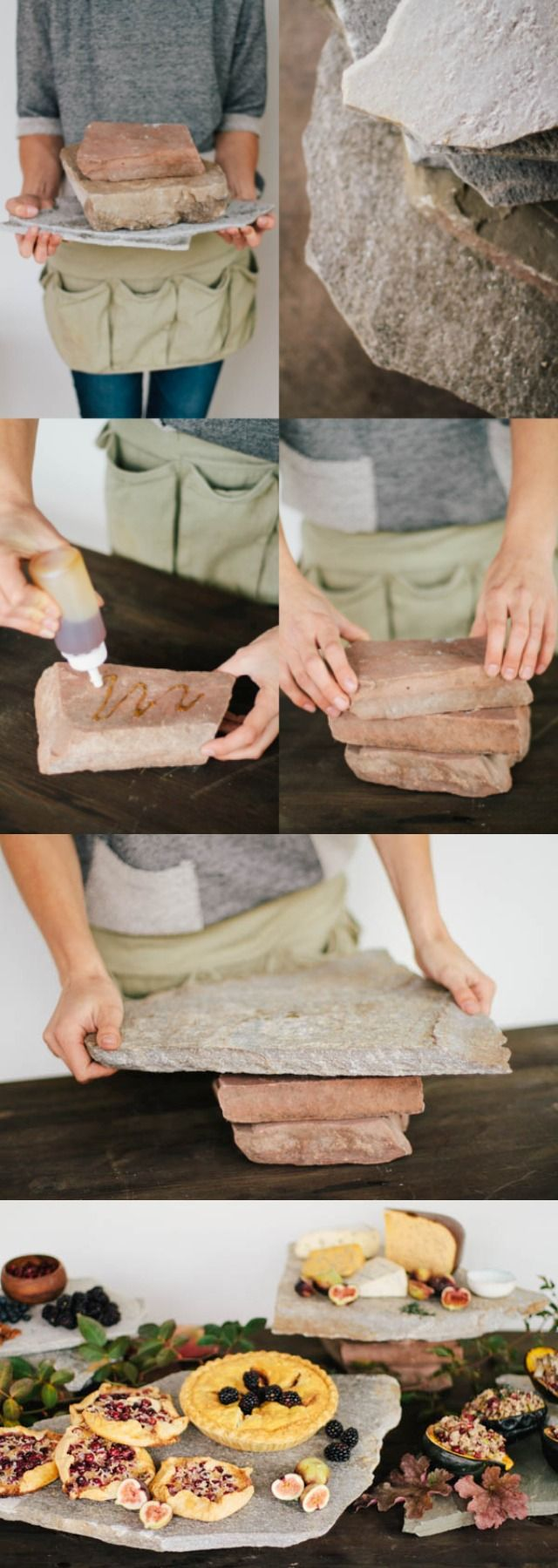 DIY: Platos únicos de piedra en tu mesa de entremeses / http://www.weddingomania.com
