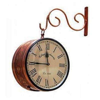 buy village clockworks brown brass double sided wall clock by pungalia creations on paytm