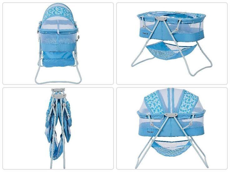 Portable #Baby #Sleeper #Bassinet Light Blue #Infant Folding #Canopy #Nursery #Newborn