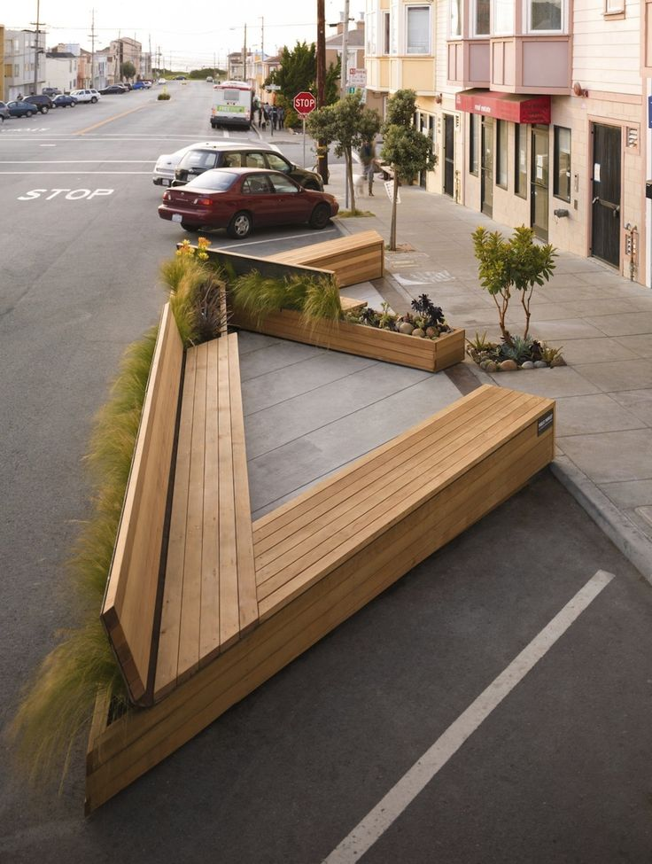 Wooden bench with grasses on the back? Noriega Street Parklet in San  Francisco by Matarozzi Pelsinger Design + Build