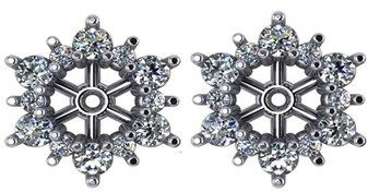 Pompeii3 G/si 7/8ct Diamond Earring Studs Jackets White Gold Fit 3/4ct Diamonds (5.5-6mm).