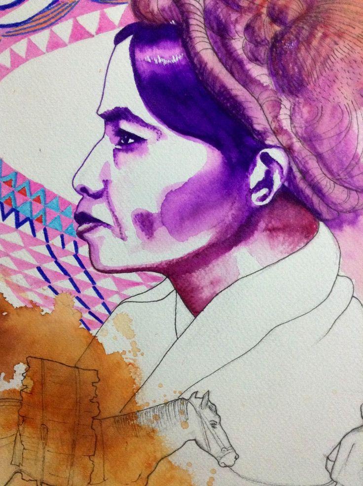 45: woman, geometric pattern, horse, watercolours, paper