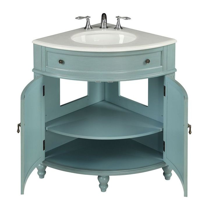 """The Thomasville 24"""" Corner Bathroom Vanity in Light Blue is a great choice for anyone who is seeking a polished and functional vanity! Contact us today!"""