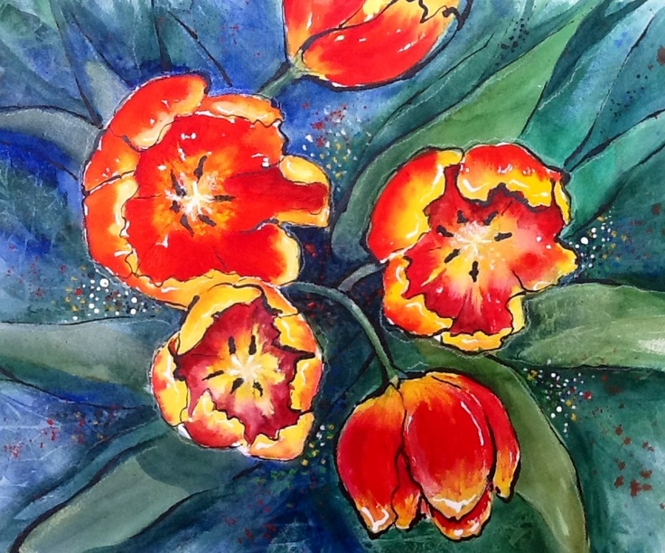 Red and Yellow Tulips -watercolour