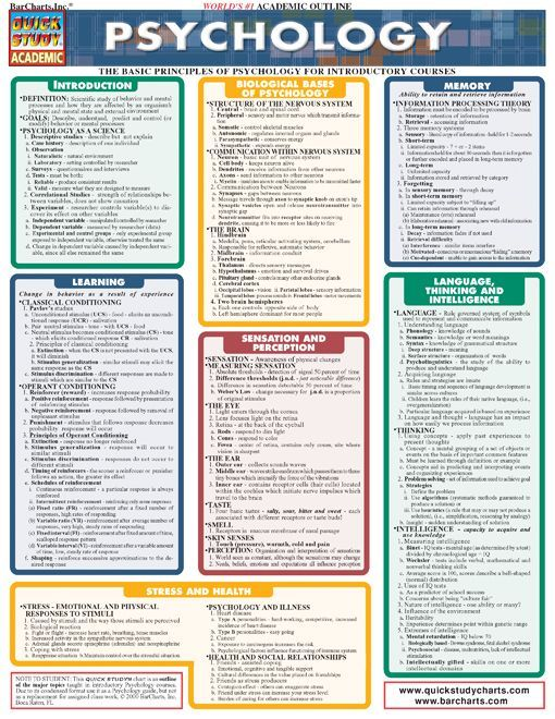 This 4-page laminated guide covers the basic principles of psychology for introductory courses. It includes information on sensation, perception, memory, personality, abnormal behavior and much more.