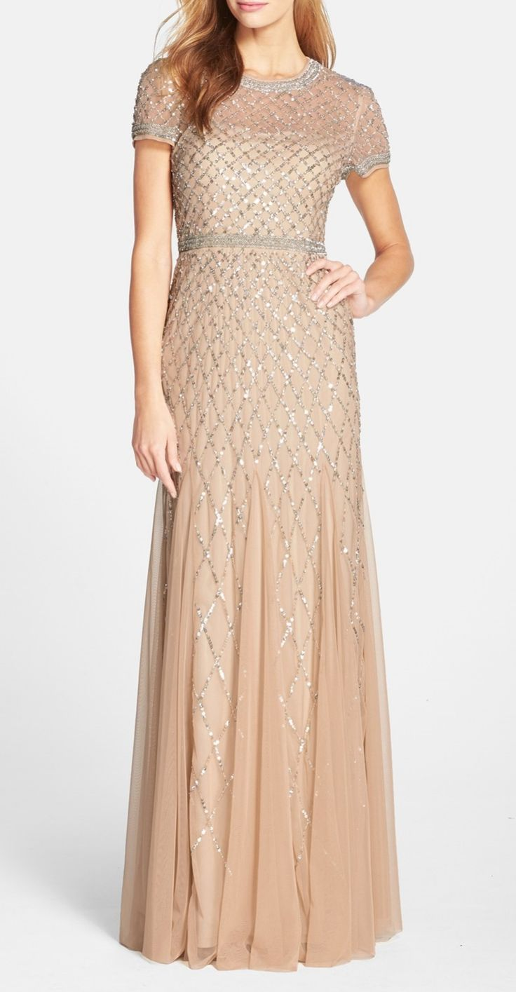 Stunning dress for a wedding! The silouette with the beaded bodice and flowy long skirt are so flattering. The sequins will make you feel like it's a once in a lifetime occasion. Formal enough without being too matronly for the mother-of-the-bride.