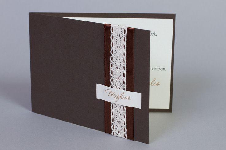 Csipkés esküvői meghívó_ lace rustic vintage wedding invitation_