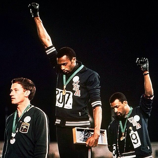 September 22, 1968.... during The 1968 Mexico City Olympics Gold Medallist Tommie Smith & Bronze Medalist John Carlos Rose their Black Gloved Fist in a Black Power Salute during The Star-Spangled Banner as A gesture of Solidarity & Protest for Human & Civil Rights. Australian Silver medalist Peter Norman wore the SAME BADGE Olympic Project for Human Rights (OPHR) in support of their protest. Both Americans were expelled from the games. This Was voted one of the Top 40 Most Powerful Photos in…