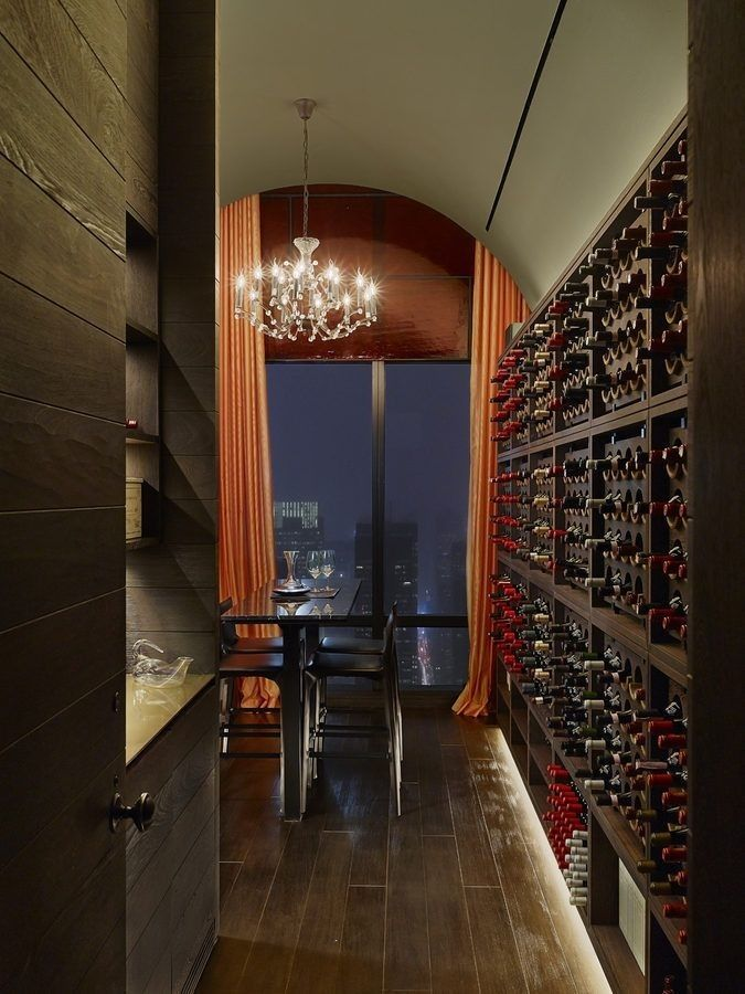 Modern wine cellar.   Such a sophisticated use of space!