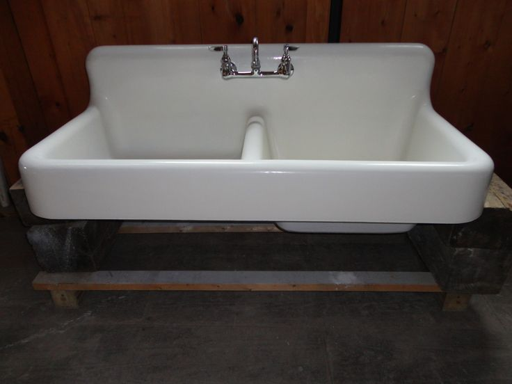 Vintage Farmhouse Kitchen Sink : Antique Cast Iron Farm Farmhouse Kitchen Sink w apron double basin ...
