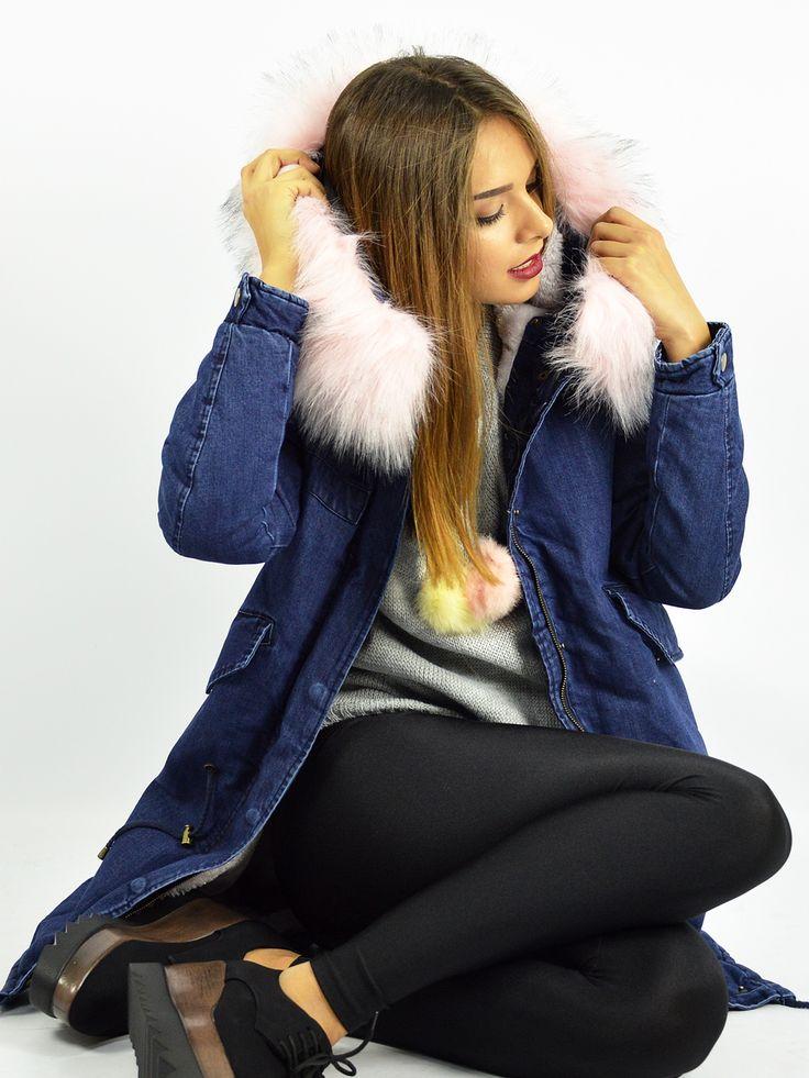 B10 Μπουφάν Παρκά Jean με Επένδυση Γούνας - Decoro - Γυναικεία ρούχα, ανδρικά ρούχα, παπούτσια