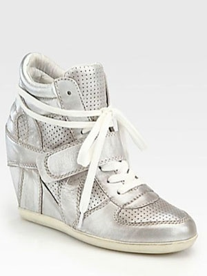 12 Wedge Sneakers for Spring -- Ash Bowie Metallic Leather Wedge Sneakers, $250