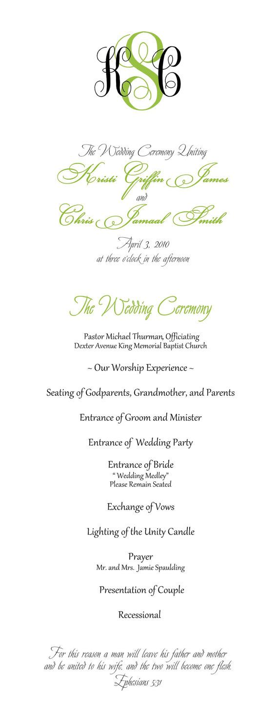Printable DIY Wedding Programs  Simple But by LittleMagicCards,