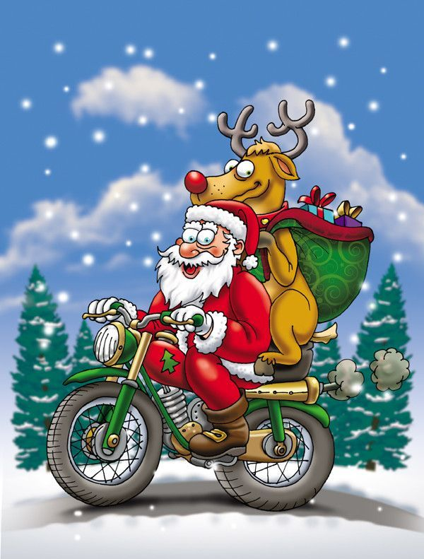 Christmas Santa Claus on a Motorcycle 2-Sided Garden Flag